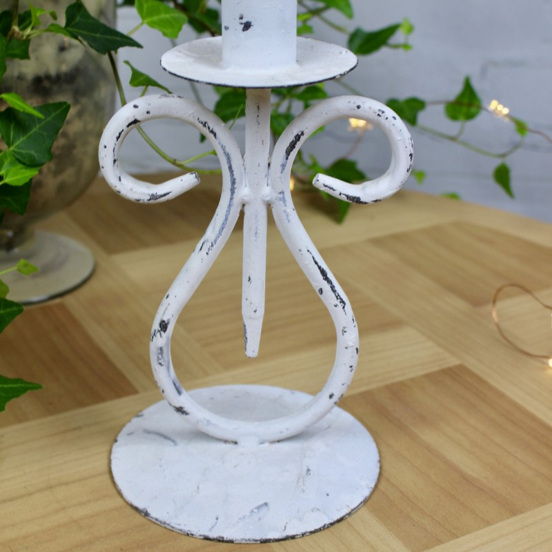 Bougeoir chandelier en m tal shabby chic patine blanc for Bougeoir shabby chic