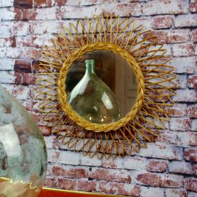 Miroir Soleil en rotin Vintage 1960