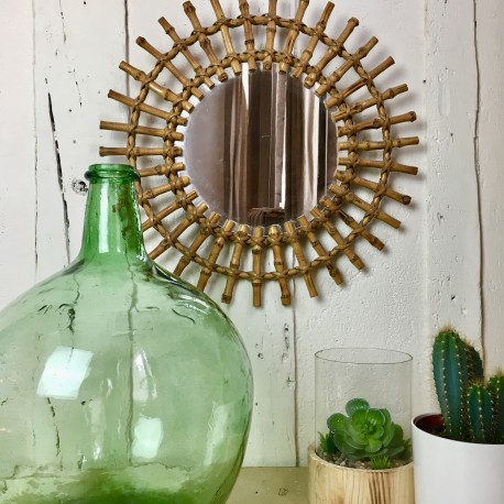miroir ancien en rotin forme soleil rotin ann es 1950 60 grand format. Black Bedroom Furniture Sets. Home Design Ideas