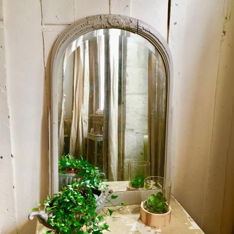 Miroir ancien en bois au mercure patine beige taupe for Miroir au mercure