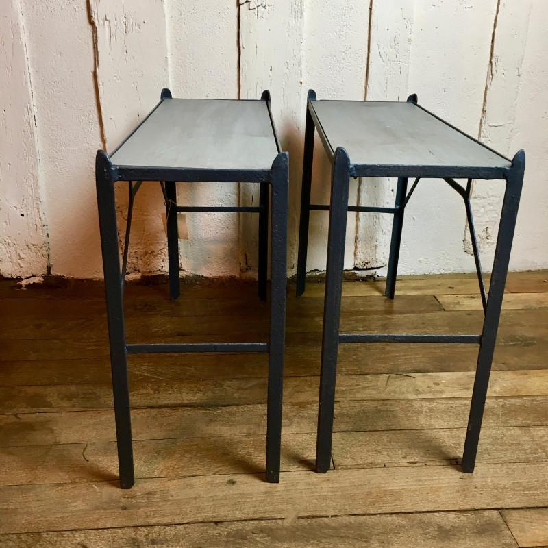 paire de table de chevets ancienne style industriel en. Black Bedroom Furniture Sets. Home Design Ideas