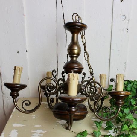 Grand Lustre en Bois et Bronze