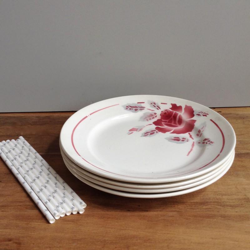 assiettes en faïence orchies moulin des loups art déco fleurs rouges