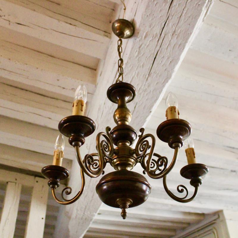 Grand Lustre En Bois Et Bronze à 5 Branches Vintage Style Hollandais