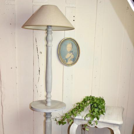 Lampadaire ancien en bois patine grise