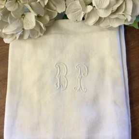 Lot de 2 Serviettes Monogramme Blanches