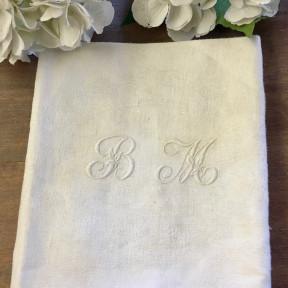 Paire de Serviettes Monogramme Blanche